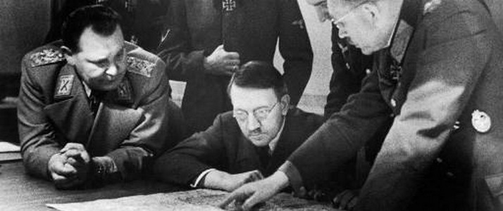 October 1944 Hitler and the generals study the plan of the Ardennes' offensive
