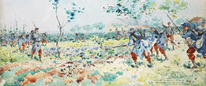 Nestor Outer, Watercolour Battle of Virton © Musée Gaumais